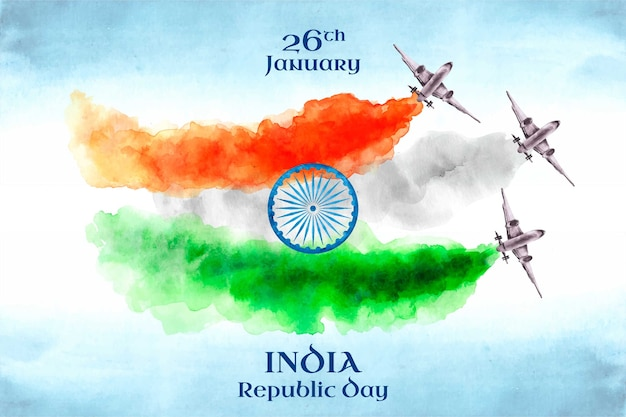 Акварельный индийский день республики