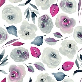 수채화 남빛과 진홍색 장미 원활한 패턴, 손으로 그린