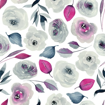 Watercolor indigo and crimson roses seamless pattern, hand drawn