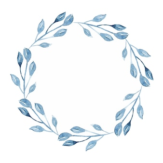 Watercolor indigo floral wreath with twig, branch and abstract leaves