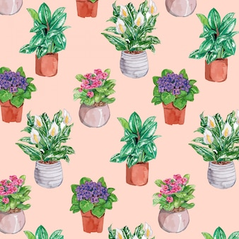 Watercolor indoor plants seamless pattern