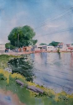 川の中の水彩工業化された場所