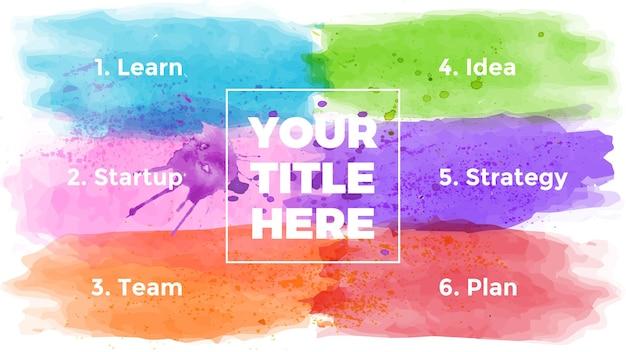 Watercolor infographic presentation slide template brush strokes banner creative art concept