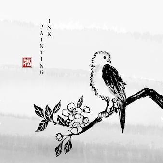 花の枝に立っている水彩インクペイントアートイラスト小鳥