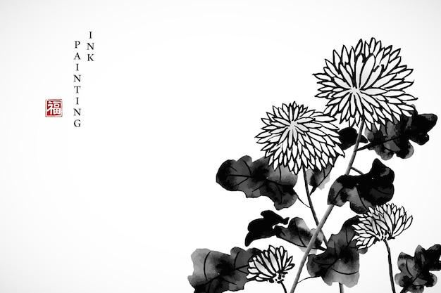 수채화 잉크 페인트 아트 텍스처 그림 국화 템플릿 배경.