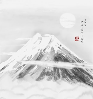 Watercolor ink paint art   texture illustration landscape of japan mountain fuji with snow on the top.