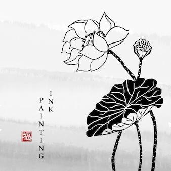 水彩インクペイントアートテクスチャイラスト蓮の花。