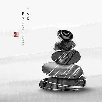 Акварельные чернила краска искусства текстуры иллюстрации дзэн баланс камень фон.