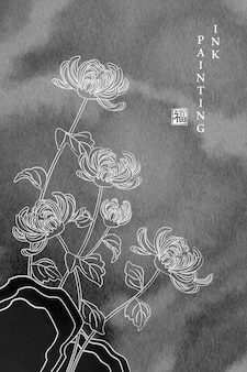 水彩インクペイントイラスト菊の花。