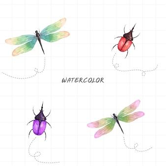 흰색 바탕에 수채화 곤충