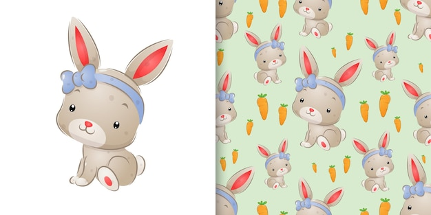 Watercolor inspiration of the cute rabbit with the ribbon head band illustration
