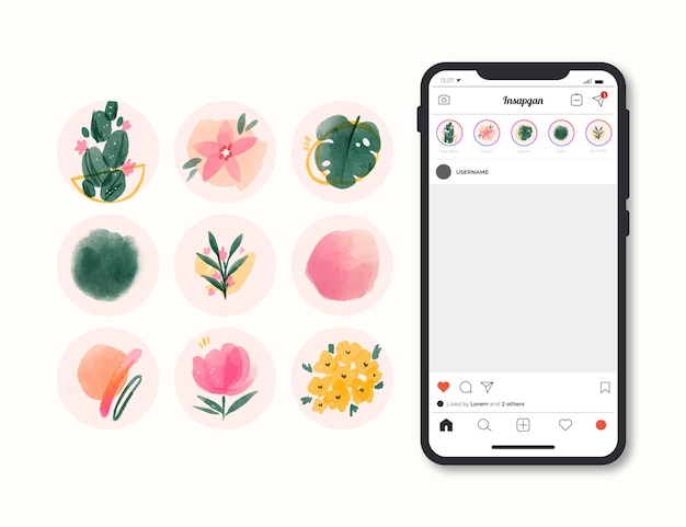 Watercolor instagram highlights collection