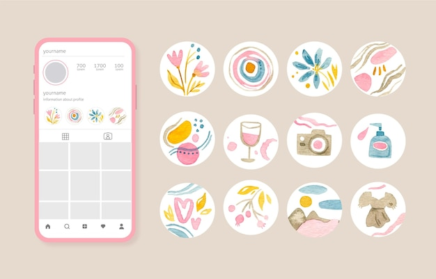 Collezione di highlight di instagram dell'acquerello