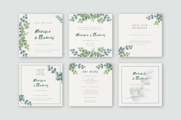 Watercolor instagram posts collection for wedding
