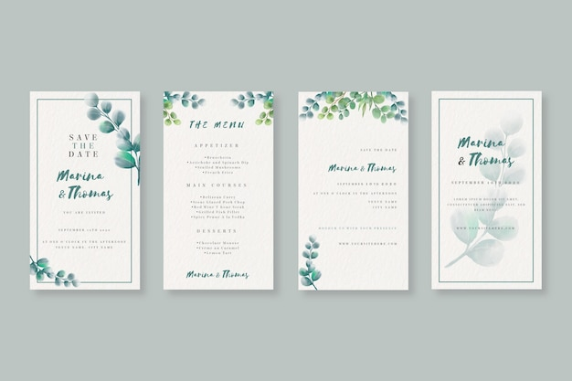 Акварельная коллекция рассказов instagram для свадьбы