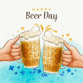 Watercolor international beer day concept