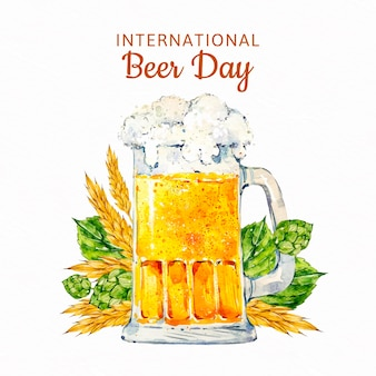 Concetto di giornata internazionale della birra dell'acquerello