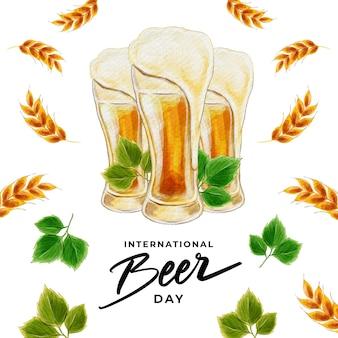 Giornata internazionale della birra ad acquerello
