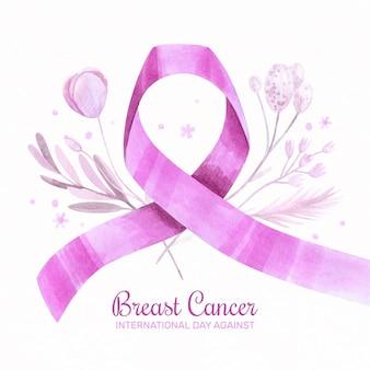 유방암 배경에 대한 수채화 국제의 날