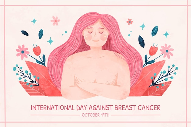 Watercolor international day against breast cancer background