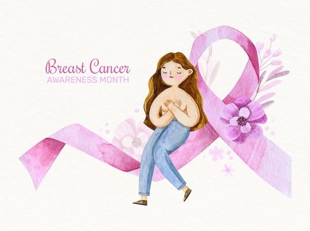 Giornata internazionale dell'acquerello contro lo sfondo del cancro al seno