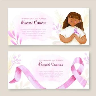 Set di banner orizzontali per la giornata internazionale dell'acquerello contro il cancro al seno