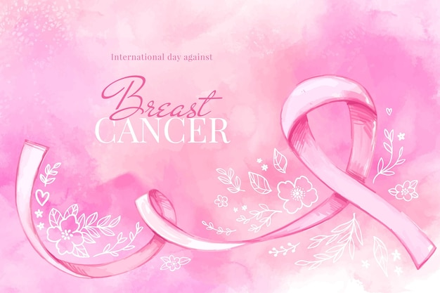 Watercolor international day against breast cancer illustration