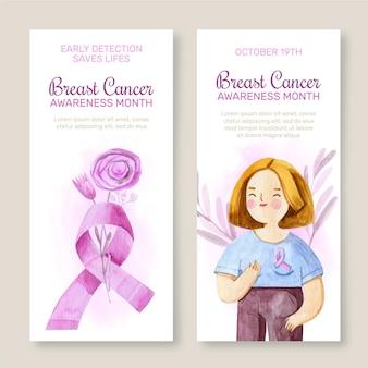 Set di banner verticali per la giornata internazionale dell'acquerello contro il cancro al seno