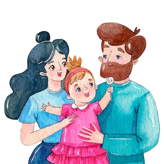 Watercolor international day of families illustration