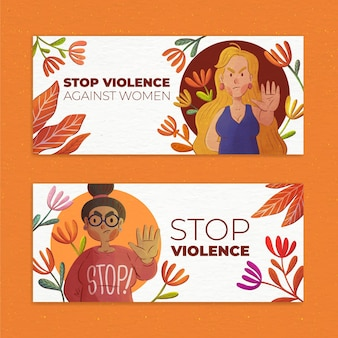 Набор горизонтальных баннеров акварель международный день борьбы с насилием в отношении женщин