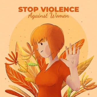 Акварель международный день борьбы за ликвидацию насилия в отношении женщин иллюстрация