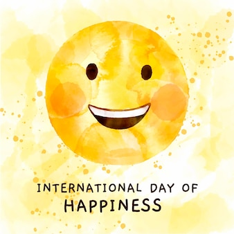 Watercolor international day of happiness illustration