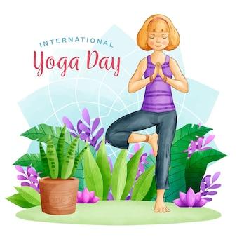 Акварель международный день йоги с женщиной
