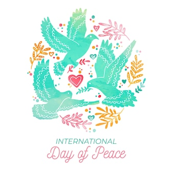 Watercolor international day of peace theme