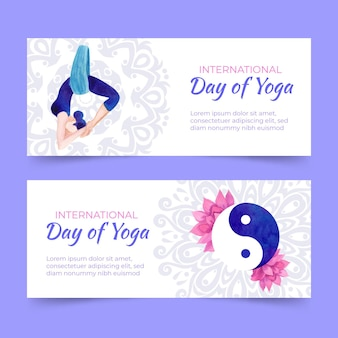 Watercolor international day of yoga banner