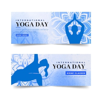 Watercolor international day of yoga banners template
