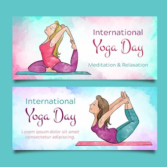 Watercolor international day of yoga banners