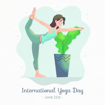 Watercolor international day of yoga illustration