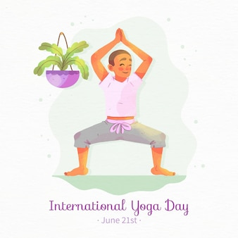 Watercolor international day of yoga with man