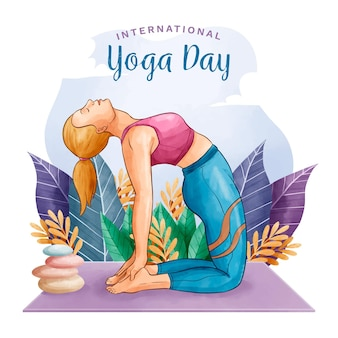 Watercolor international day of yoga with woman and rocks