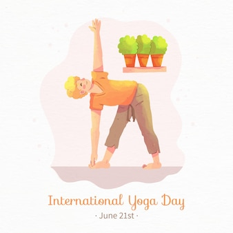 Watercolor international day of yoga with woman