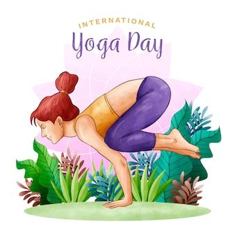 Watercolor international day of yoga