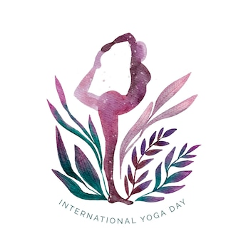 Watercolor international day of yoga