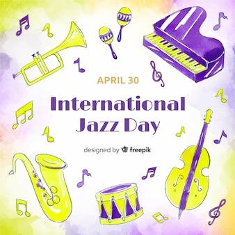 Watercolor international jazz day background
