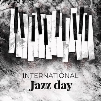Watercolor international jazz day concept