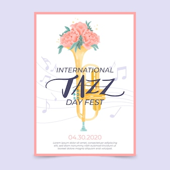 Watercolor international jazz day flyer template