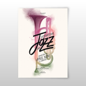 Watercolor international jazz day flyer