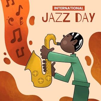 Акварель международный день джаза иллюстрация
