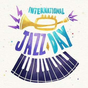 水彩国際ジャズデーのイラスト