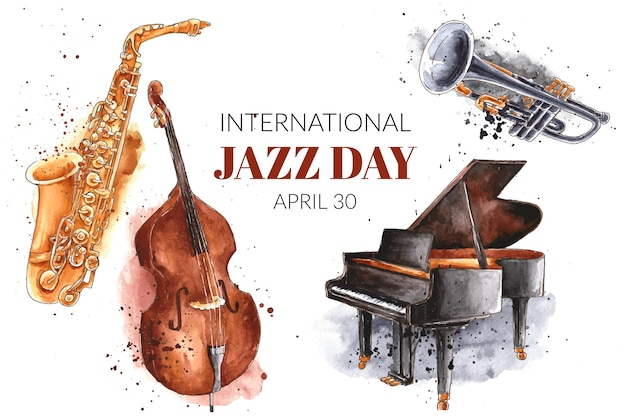 Watercolor international jazz day illustration